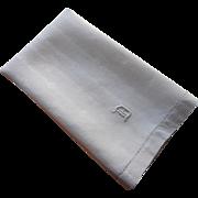 Monogram D Antique Linen Damask Hand Towel