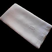 Monogram D Antique Linen Damask Towel Roses Weave Motif