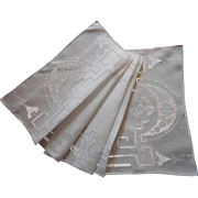 Vintage Runner Linen Hand Embroidery Pulled Thread Work Fine Hemstitching