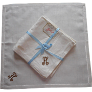 Monogram H Vintage Linen Luncheon Napkins Unused Original Labels