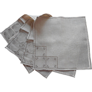 Vintage Tea or Bridge Napkins Linen Italian Work Hand Embroidery Unused