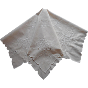 Vintage Tea Tablecloth Hand Embroidered Italianwork Palest Ecru