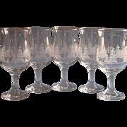 Arby's Winter Scene Christmas Tulip Shape Water Wine Goblets Glasses Gold Rim