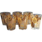 Vintage Barware Double Old Fashioned Glasses Gold Pineapples Set 6