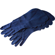 Lilly Dache Vintage Gloves Scalloped Gauntlet Blue Large Size