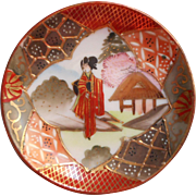 Antique Satsuma China Butter Pat Geisha Hand Painted
