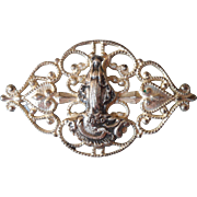 Antique Edwardian Filigree Lace Pin Mary Catholic Saint Catherine Baby