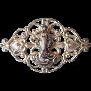 Antique Edwardian Filigree Lace Pin Mary Catholic Saint Catherine Baby