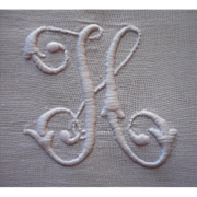 Monogram H Antique Runner Hand Embroidery White Work Butterlfies TLC