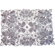 Tape Lace and Organdy Tray Cloth Vintage