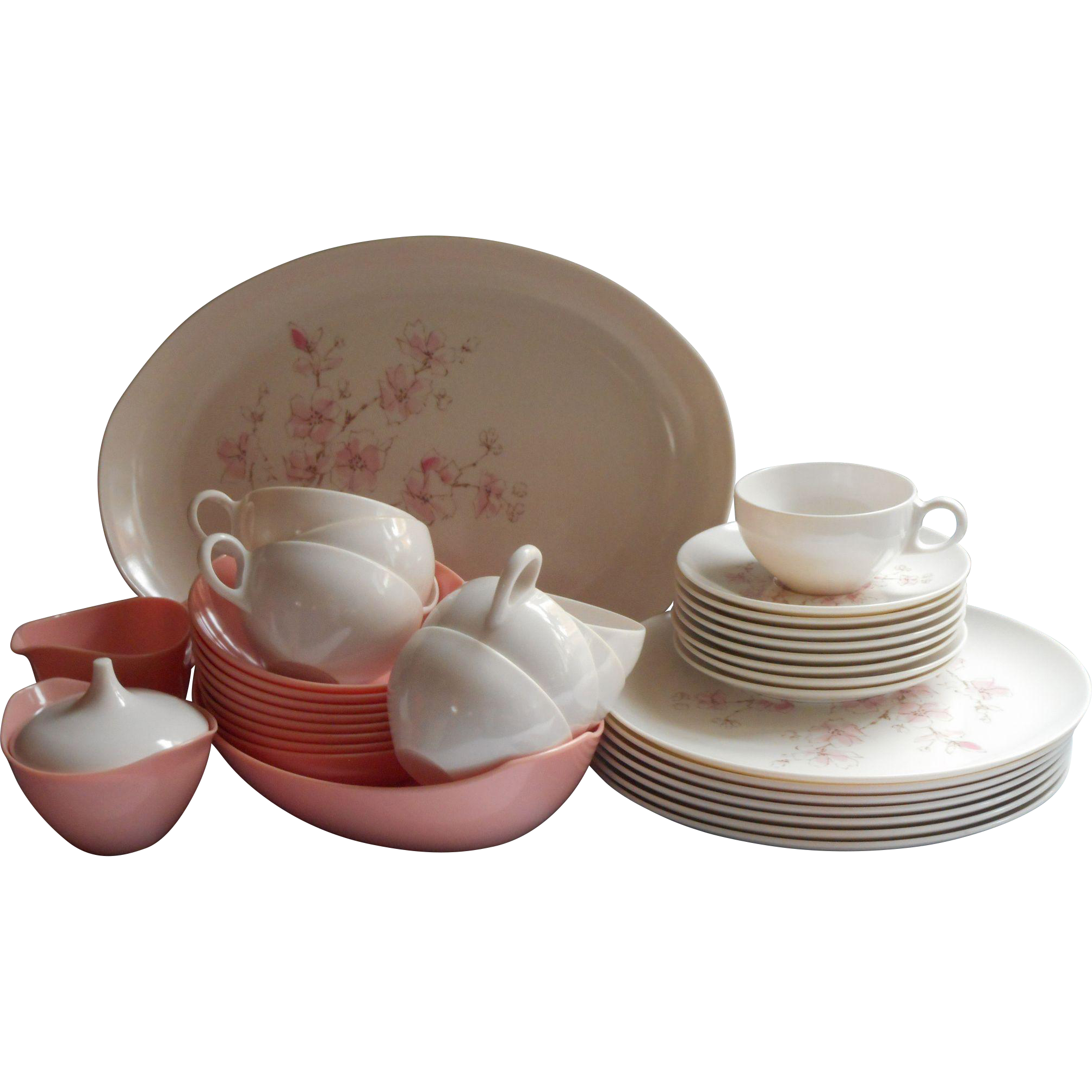 Pink Melamine Set Dishes Oneida Cherry Blossom Vintage Excellent  Mercy Maude! | Ruby Lane  sc 1 st  Ruby Lane & Pink Melamine Set Dishes Oneida Cherry Blossom Vintage Excellent ...