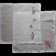 Vintage Hankies Embroidered Cotton Violets Roses Unused Hankie