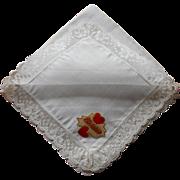 Vintage Hankie Lace Cotton Unused Valentine Foil Label