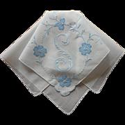 Monogram S Vintage Hankie Madeira Appliqued Hand Embroidered