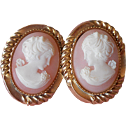 Vintage Realistic Plastic Cameo Earrrings Soft Shell Color Pretty Ladies