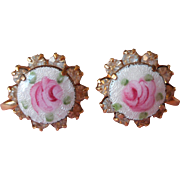 Enamel Roses Rhinestones Vintage Earrings Pink White
