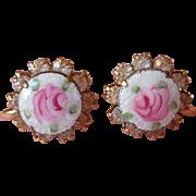 Enamel Roses Rhinestones Vintage Earrings Pink White