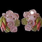 Vintage Earrings Western Germany Bead Clusters Metal Buds