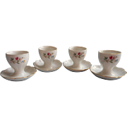 Vintage Egg Cups Porcelain Kaiser Fluted Romantica Floral China Set 4