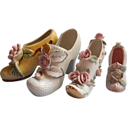 Vintage China Shoes Ladies Japan Flowers Pink White Yellow Gold