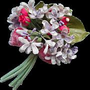 Vintage Corsage Millinery Flowers Pink Velvet Ribbon Lilace Rosebuds