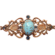 Vintage Florenza Pin Faux Turquoise Cabochon TLC