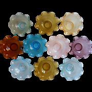 Midcentury Italian Bowls Ruffled Colony Glass Finger Dessert Many Colors