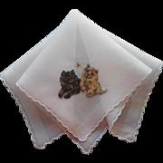 Vintage Hankie Persian Kittens Cats Hand Embroidery Unused