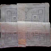 Vintage Hankie Fine Linen Drawn Work Hand Embroidery Unused