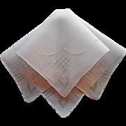 Vintage Hankie Fine Linen Hand Embroidery Hemstitching