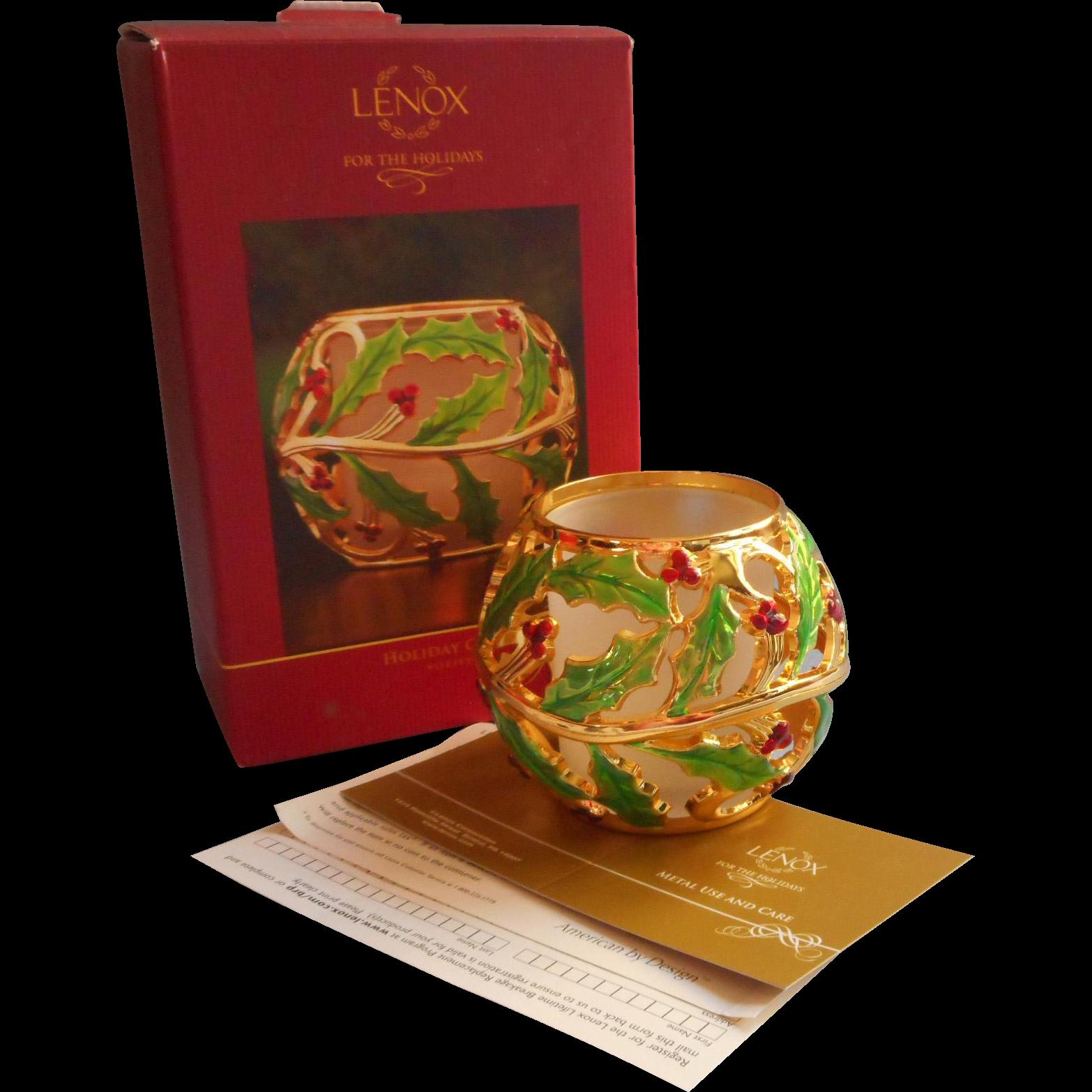 Lenox Holiday Gold Enameled Holly Votive Candle Holder ...