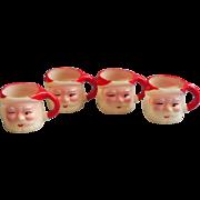 Vintage Winking Santa Miniature Mugs Plastic Hong Kong Mini Set 4 Shot Glasses