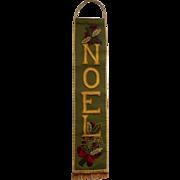 Vintage Noel Bell Pull Christmas Latch Hooked Work Wool Wall Hanging Holly