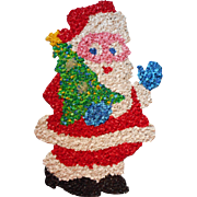 Vintage Melted Popcorn Santa With Christmas Tree Hanging 19 Inch