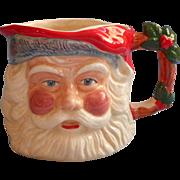 Vintage Staffordhsire England Pottery Santa Christmas Mug Style Pitcher Planter