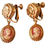 Vintage Earrings Resin Cameo Screwback Clip Drop Dangle
