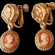 Vintage Earrings Resin Cameo Screwback Clip Drop Dangle