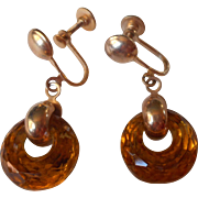 Vintage 1940s Earrings Amber Colored Glass Faceted Ring Drops