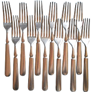 Antique Forks Classic Simple Handles 12 Silver Plated Reenactment