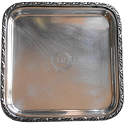 Monogram H E  or I E Antique Silver Plated Little Square Tray Reed And Barton