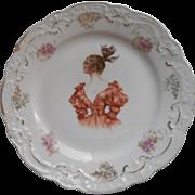 Antique Plate Decorative Pretty Lady Fancy Dress China Zeh Scherzer