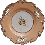 Antique Plate 1840s to 1860s Peach Gold Hand Painted Pierced China