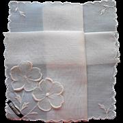 Vintage Hankie Swiss Celebritees Appliqued Flowers All White Original Label
