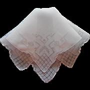Vintage Hankie Linen Hand Embroidery Hemstitching