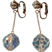 Vintage Earrings 1960s AB Cut Crystal Ball Beads On Chain