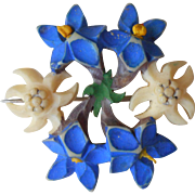 Vintage Pin Carved Edelweiss Gentian Flowers Imitation Bone Swiss