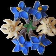 Vintage Pin Carved Edelweiss Gentian Flowers Imitation Bone Swiss