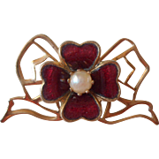 Vintage Cultured Pearl Red Enamel Flower Tiny Lace Pin
