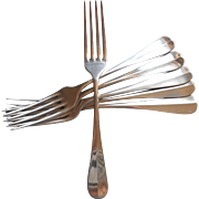 Antique European Oversized 6 Forks Berndorf Alpacca Silver