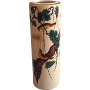 Vintage Japanes Vase Signed Pottery Pine Birds Hand Painted Columnar